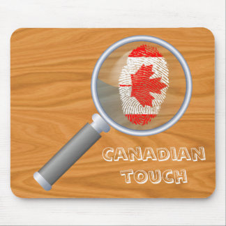 Bandera canadiense de la huella dactilar del tacto alfombrilla de ratón