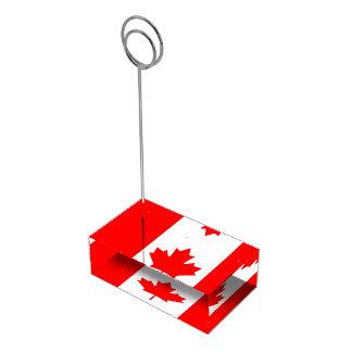 Bandera canadiense del portatarjetas rojo de la soporte para tarjeta de mesa