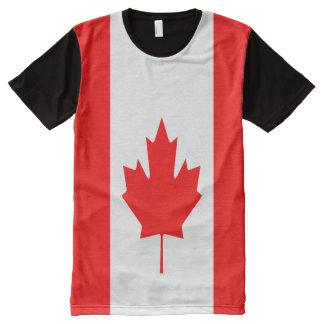 Bandera canadiense por completo camiseta con estampado integral