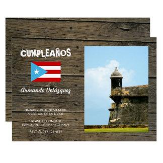 Bandera Celeste Puerto Rico Cumpleanos Invitacion Invitación 8,9 X 12,7 Cm