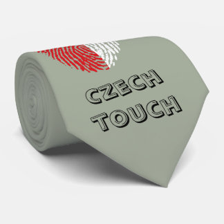 Bandera checa de la huella dactilar del tacto corbata