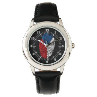 Bandera checa de la huella dactilar del tacto reloj de pulsera
