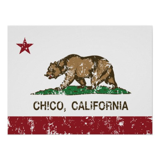bandera chico de California apenado Poster