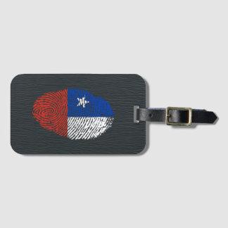 Bandera chilena de la huella dactilar del tacto etiqueta para maletas