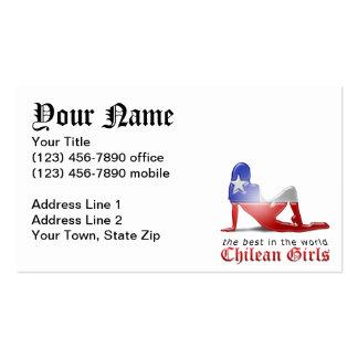 Bandera chilena de la silueta del chica tarjetas personales