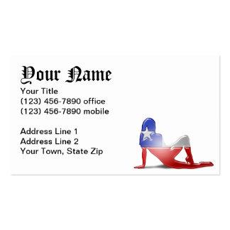 Bandera chilena de la silueta del chica tarjetas de visita