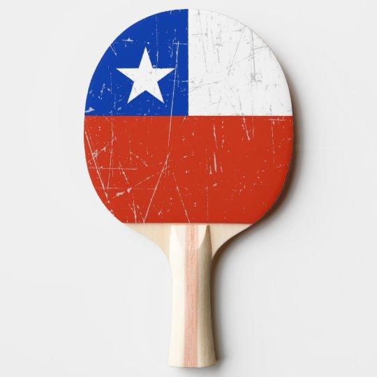 Bandera chilena rascada y rasguñada pala de ping pong