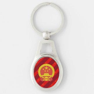 Bandera china de las rayas llavero