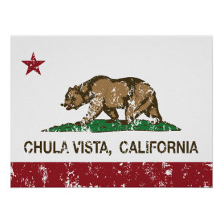 Bandera Chula Vista de California Posters