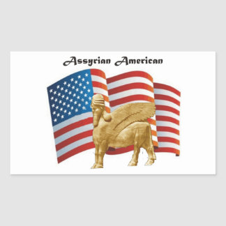 Bandera coa alas americano asirio de Bull los Pegatina Rectangular