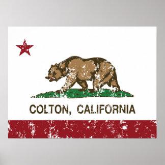 Bandera Colton del estado de California Posters