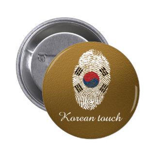 Bandera coreana de la huella dactilar del tacto chapa redonda de 5 cm