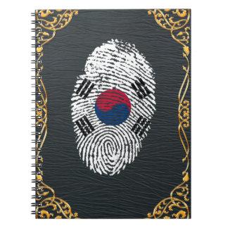 Bandera coreana de la huella dactilar del tacto cuaderno