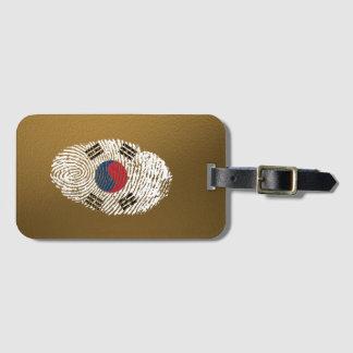 Bandera coreana de la huella dactilar del tacto etiqueta para maletas
