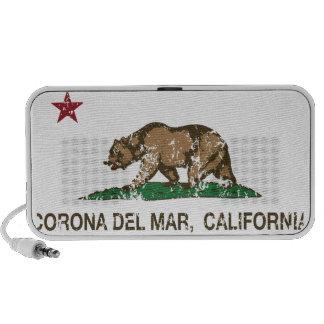 Bandera Corona del Mar de la república de Californ Mini Altavoz