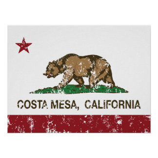 bandera Costa Mesa de California apenado Poster