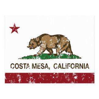 bandera Costa Mesa de California apenado Postal