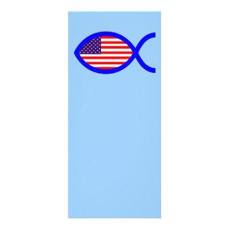 Bandera cristiana americana del símbolo de los pes tarjetas publicitarias personalizadas