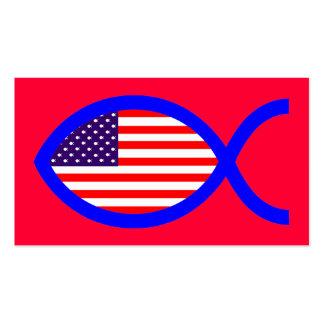 Bandera cristiana americana del símbolo de los pes tarjetas de visita