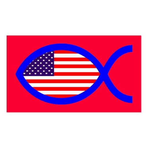 Bandera cristiana americana del símbolo de los tarjetas de visita