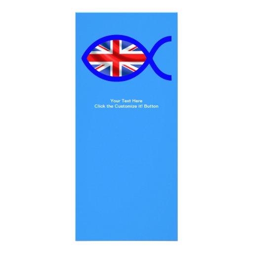 Bandera cristiana británica del símbolo de los pes tarjetas publicitarias a todo color