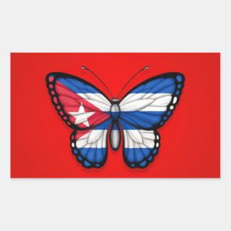 Bandera cubana de la mariposa en rojo pegatina rectangular