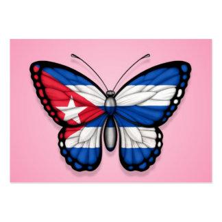Bandera cubana de la mariposa en rosa plantillas de tarjetas personales