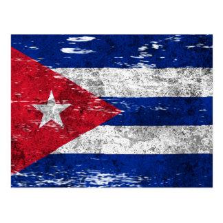 Bandera cubana rascada y llevada postal
