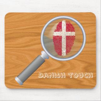 Bandera danesa de la huella dactilar del tacto alfombrilla de ratón