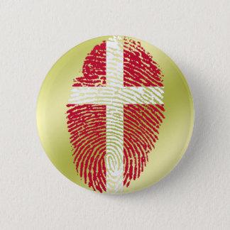 Bandera danesa de la huella dactilar del tacto chapa redonda de 5 cm