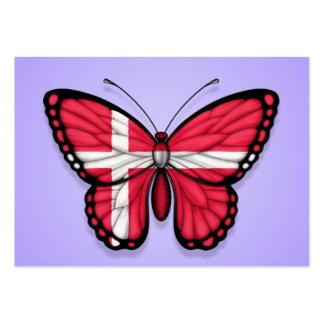 Bandera danesa de la mariposa en púrpura plantilla de tarjeta de negocio