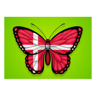 Bandera danesa de la mariposa en verde tarjeta personal