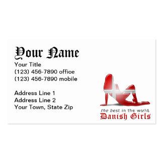 Bandera danesa de la silueta del chica tarjetas de visita