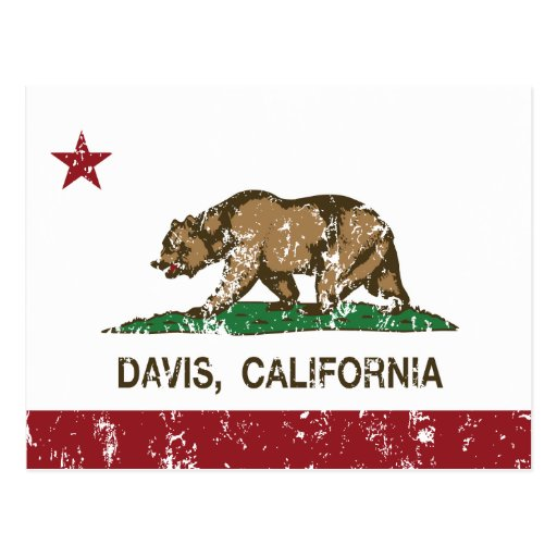 bandera Davis de California apenado Postal