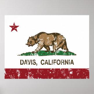 Bandera Davis del estado de California Poster