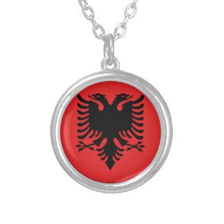 Bandera de Albania - Flamuri i Shqipërisë Collar Plateado