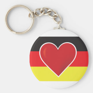 Bandera de Alemania del corazón Llavero Redondo Tipo Chapa