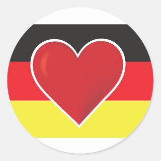 Bandera de Alemania del corazón Pegatina Redonda