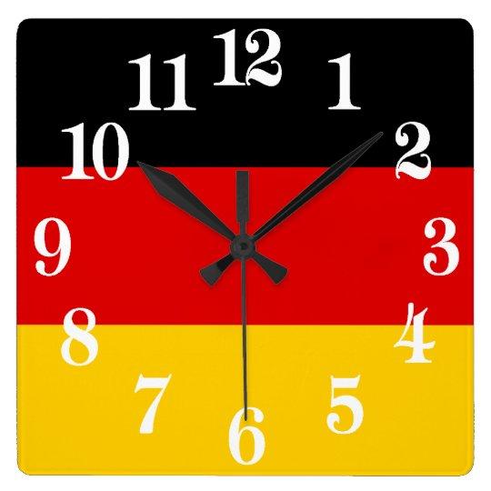 Bandera de Alemania o de Deutschland Reloj Cuadrado