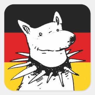 bandera de Alemania y perro blanco con el cuello Pegatina Cuadrada