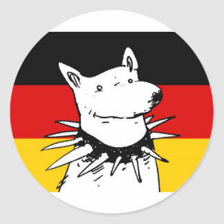 bandera de Alemania y perro blanco con el cuello Pegatina Redonda