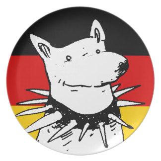 bandera de Alemania y perro blanco con el cuello Plato De Comida