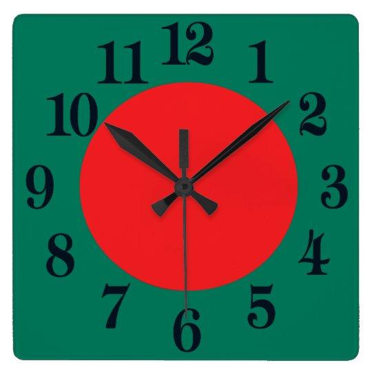 Bandera de Bangladesh Reloj Cuadrado