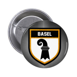Bandera de Basilea Chapa Redonda De 5 Cm