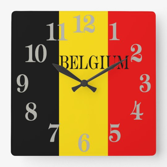 Bandera de Bélgica Reloj Cuadrado