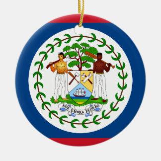 Bandera de Belice Adorno Navideño Redondo De Cerámica