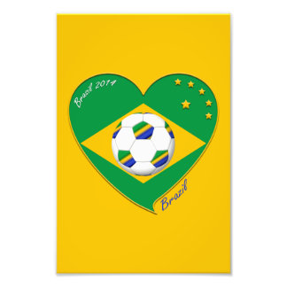 Bandera de BRASIL FÚTBOL de campeones del mundo Impresión Fotográfica