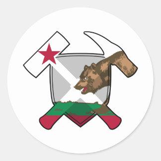 Bandera de California del escudo del martillo de Pegatina Redonda
