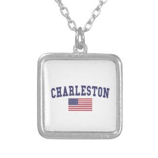 Bandera de Charleston WV los E.E.U.U. Colgante Cuadrado