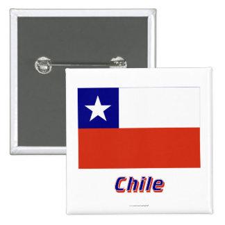 Bandera de Chile con nombre Chapa Cuadrada 5 Cm